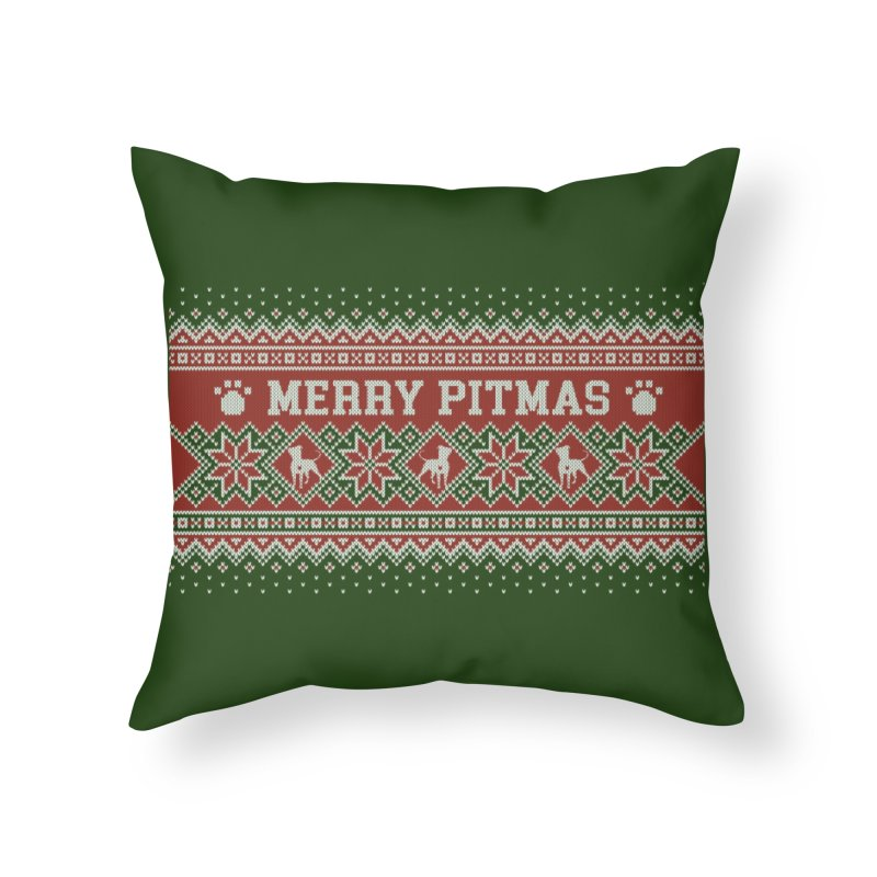 Merry Pitmas Ugly Sweater - Holly Home Throw Pillow by Pittie Chicks