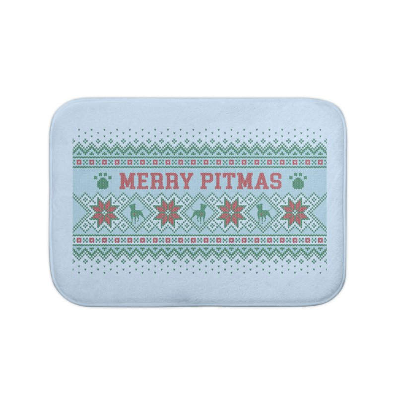 Merry Pitmas Ugly Sweater - Jolly Home Bath Mat by Pittie Chicks