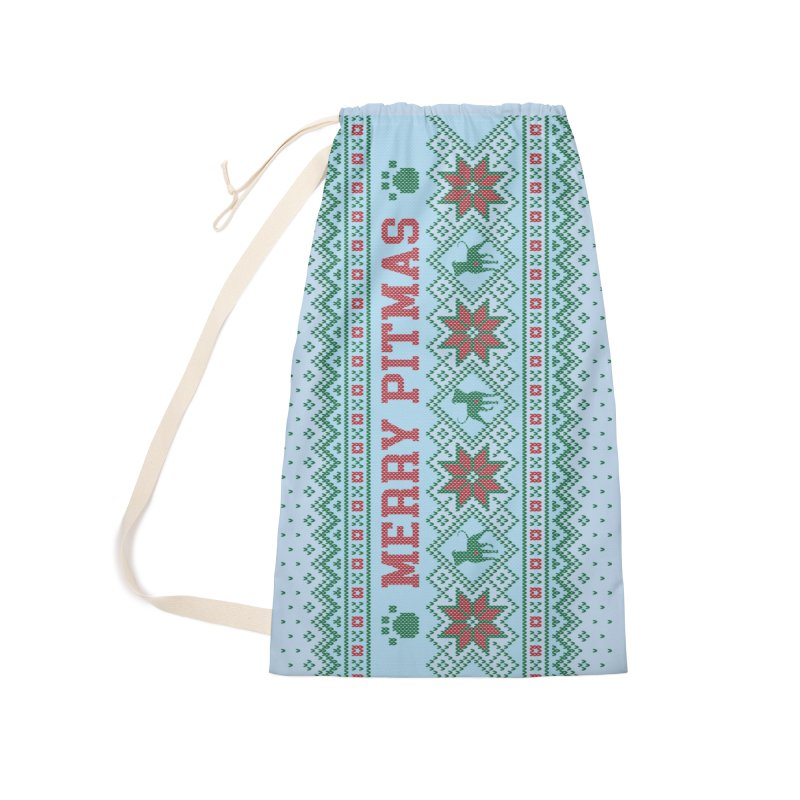 Merry Pitmas Ugly Sweater - Jolly Accessories Laundry Bag Bag by Pittie Chicks