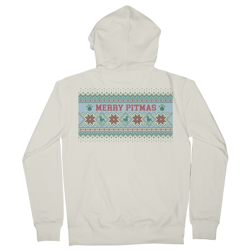 Merry Pitmas Ugly Sweater - Jolly Men's French Terry Zip-Up Hoody by Pittie Chicks