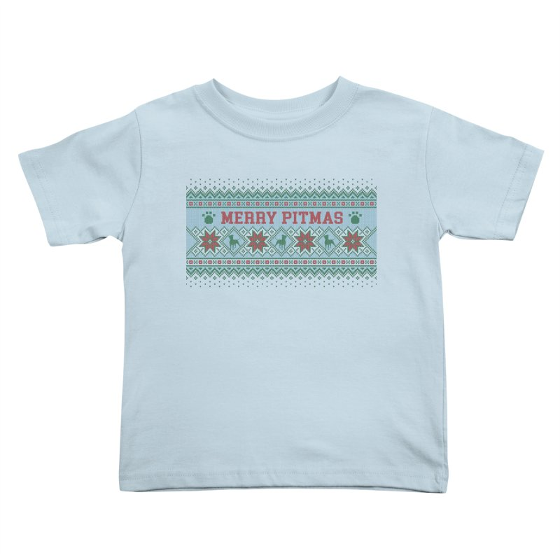 Merry Pitmas Ugly Sweater - Jolly Kids Toddler T-Shirt by Pittie Chicks