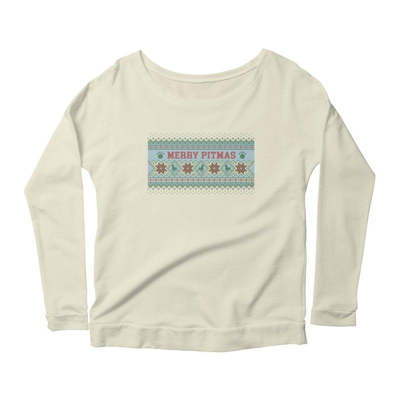 Merry Pitmas Ugly Sweater - Jolly Women's Longsleeve Scoopneck  by Pittie Chicks
