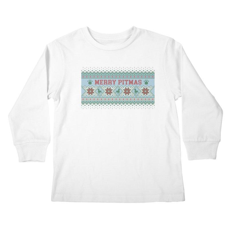 Merry Pitmas Ugly Sweater - Jolly Kids Longsleeve T-Shirt by Pittie Chicks