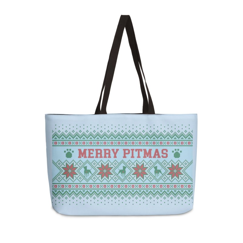 Merry Pitmas Ugly Sweater - Jolly Accessories Weekender Bag Bag by Pittie Chicks