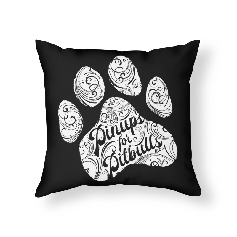 Pinups for Pitbulls Paw Print Home Throw Pillow by Pittie Chicks