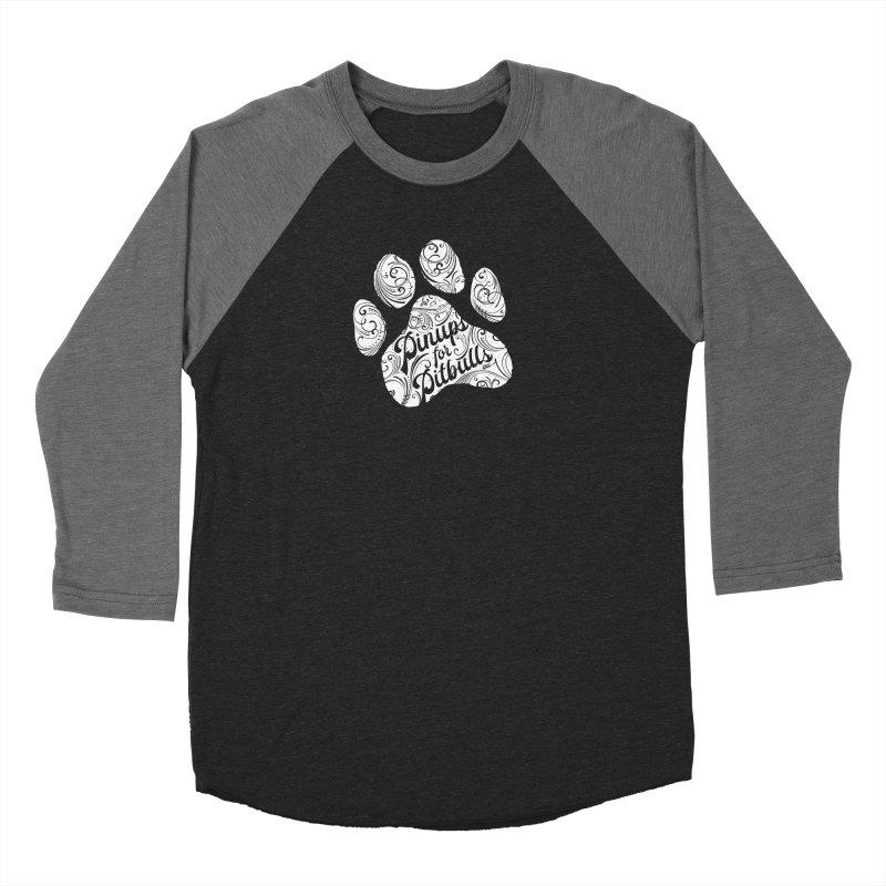 Pinups for Pitbulls Paw Print Women's Baseball Triblend Longsleeve T-Shirt by Pittie Chicks