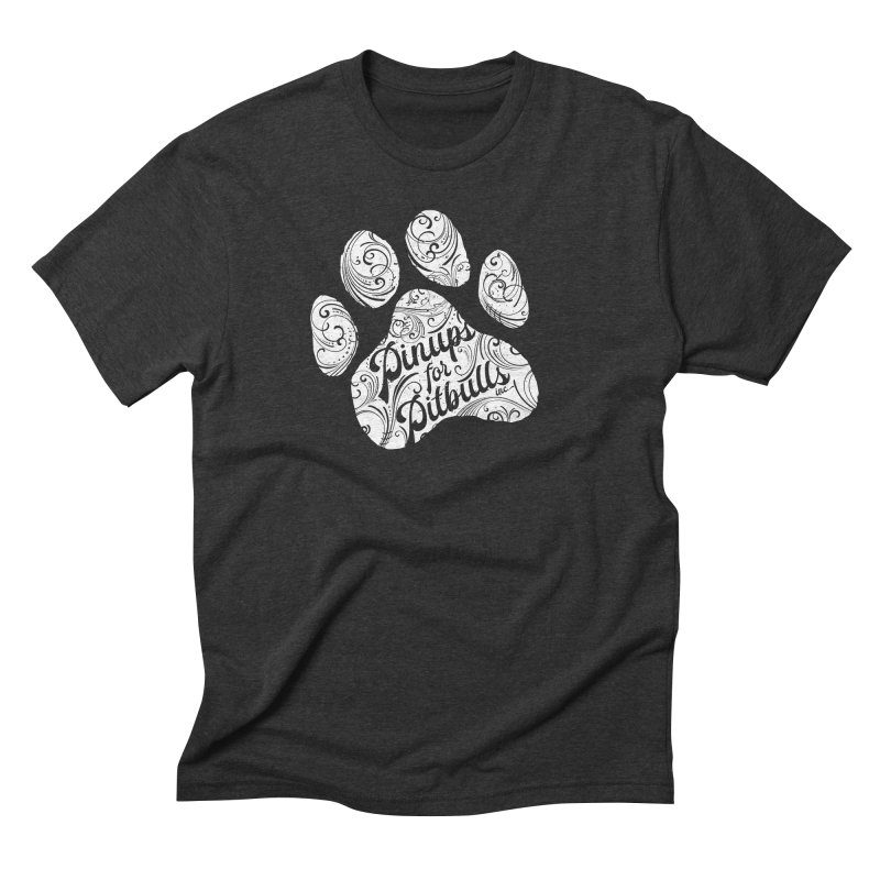Pinups for Pitbulls Paw Print Men's Triblend T-Shirt by Pittie Chicks