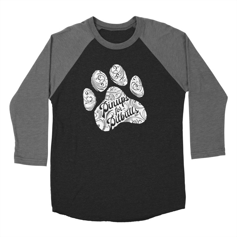 Pinups for Pitbulls Paw Print Women's Baseball Triblend Longsleeve T-Shirt by Pittie Chicks