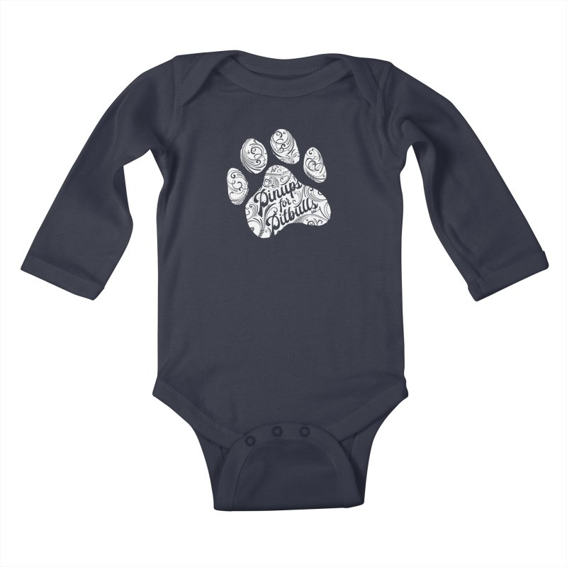 Pinups for Pitbulls Paw Print Kids Baby Longsleeve Bodysuit by Pittie Chicks