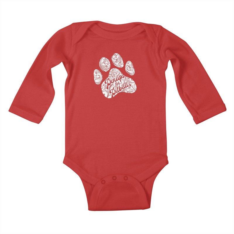 Pinups for Pitbulls Paw Print Kids Baby Longsleeve Bodysuit by Pittie Chicks