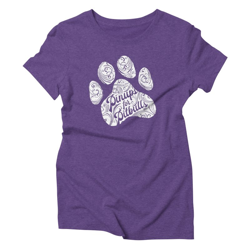 Pinups for Pitbulls Paw Print Women's T-Shirt by Pittie Chicks