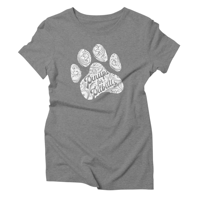 Pinups for Pitbulls Paw Print Women's Triblend T-Shirt by Pittie Chicks