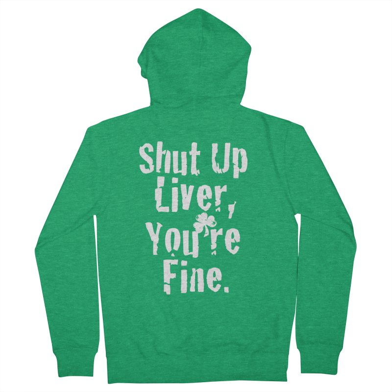 Liver Schmivver Drinking Tee Men's French Terry Zip-Up Hoody by Pittie Chicks