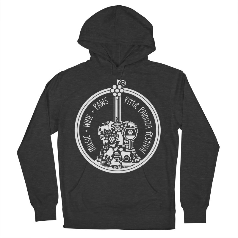 Pittie Palooza Official Design - White Ink Men's French Terry Pullover Hoody by Pittie Chicks