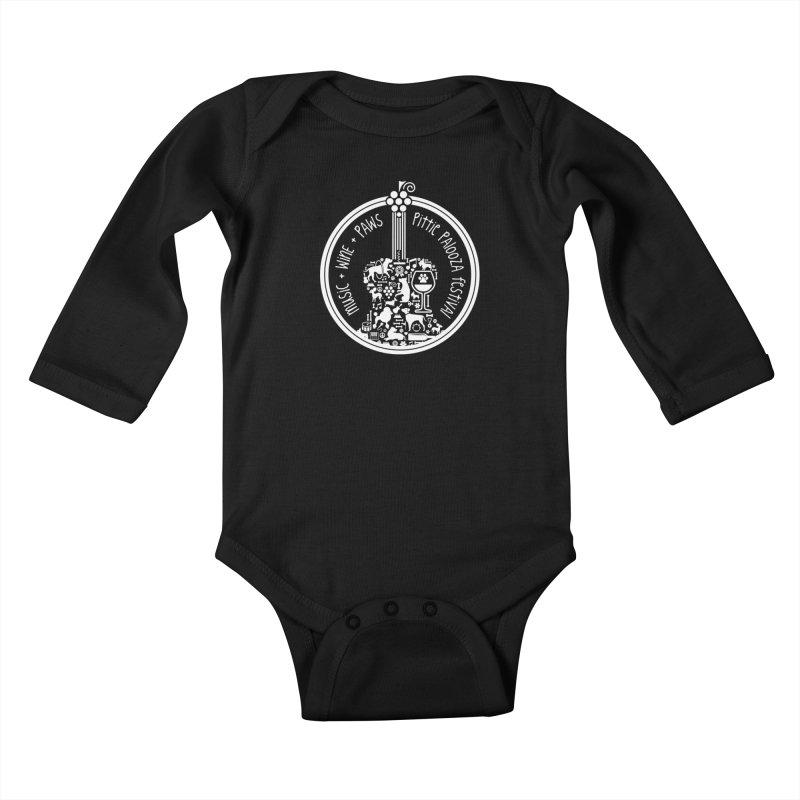 Pittie Palooza Official Design - White Ink Kids Baby Longsleeve Bodysuit by Pittie Chicks