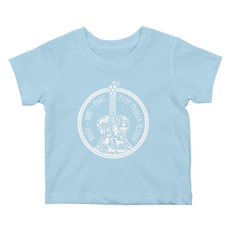 Pittie Palooza Official Design - White Ink Kids Baby T-Shirt by Pittie Chicks
