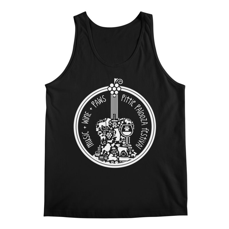 Pittie Palooza Official Design - White Ink Men's Regular Tank by Pittie Chicks