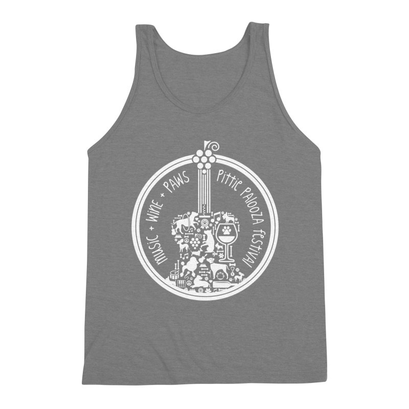 Pittie Palooza Official Design - White Ink Men's Triblend Tank by Pittie Chicks