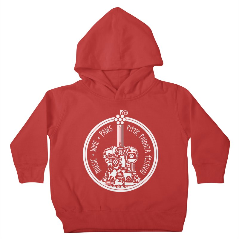 Pittie Palooza Official Design - White Ink Kids Toddler Pullover Hoody by Pittie Chicks