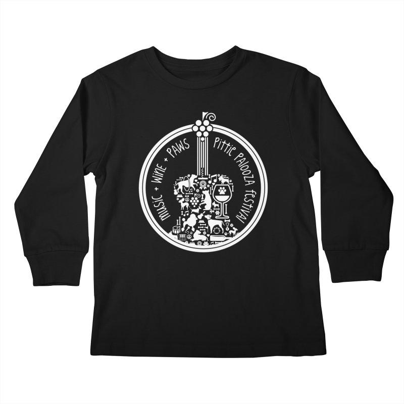 Pittie Palooza Official Design - White Ink Kids Longsleeve T-Shirt by Pittie Chicks