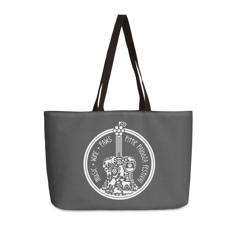 Pittie Palooza Official Design - White Ink Accessories Weekender Bag Bag by Pittie Chicks