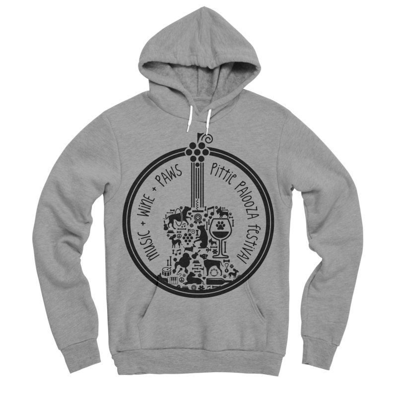 Pittie Palooza Official Design - Black Ink Men's Sponge Fleece Pullover Hoody by Pittie Chicks