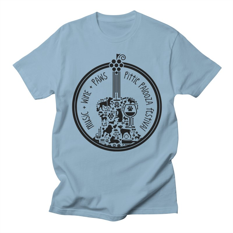 Pittie Palooza Official Design - Black Ink Men's Regular T-Shirt by Pittie Chicks