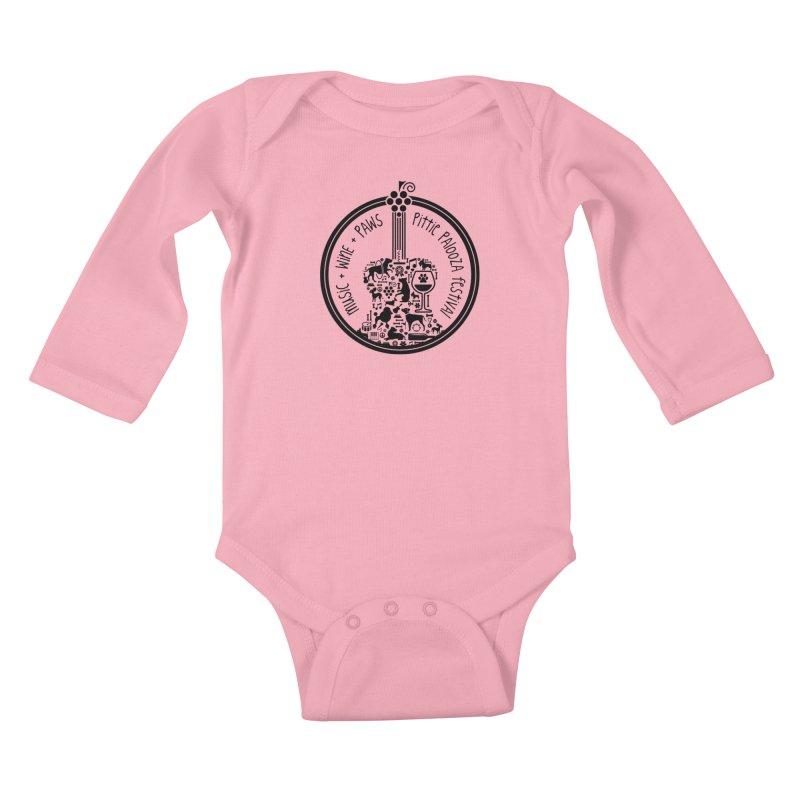 Pittie Palooza Official Design - Black Ink Kids Baby Longsleeve Bodysuit by Pittie Chicks