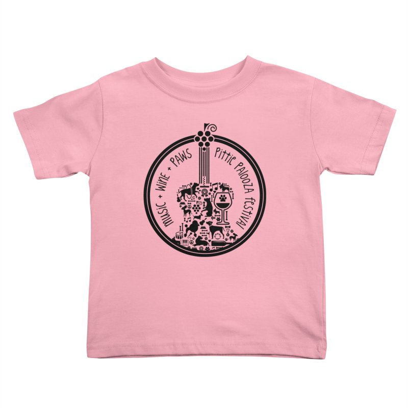 Pittie Palooza Official Design - Black Ink Kids Toddler T-Shirt by Pittie Chicks
