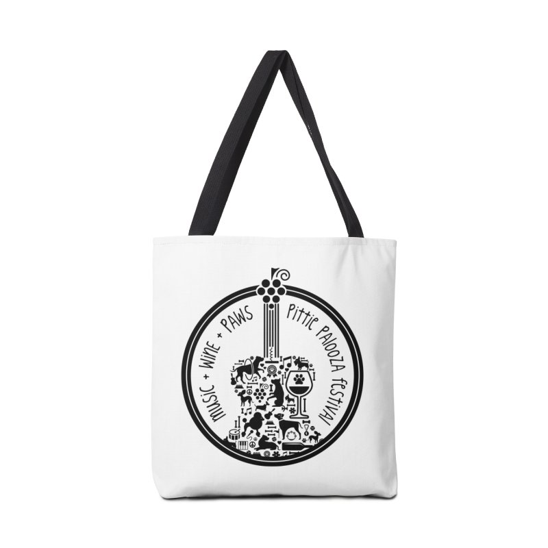 Pittie Palooza Official Design - Black Ink Accessories Tote Bag Bag by Pittie Chicks
