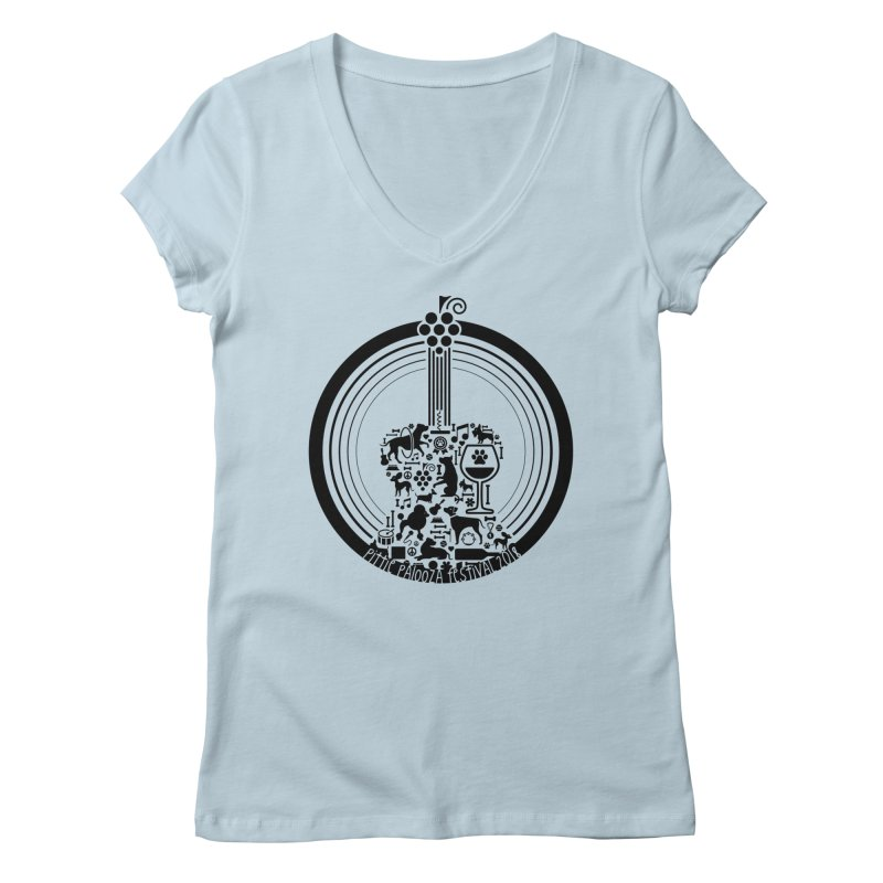 Pittie Palooza Official Design - Black Ink Women's V-Neck by Pittie Chicks