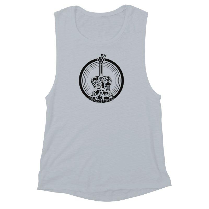Pittie Palooza Official Design - Black Ink Women's Muscle Tank by Pittie Chicks