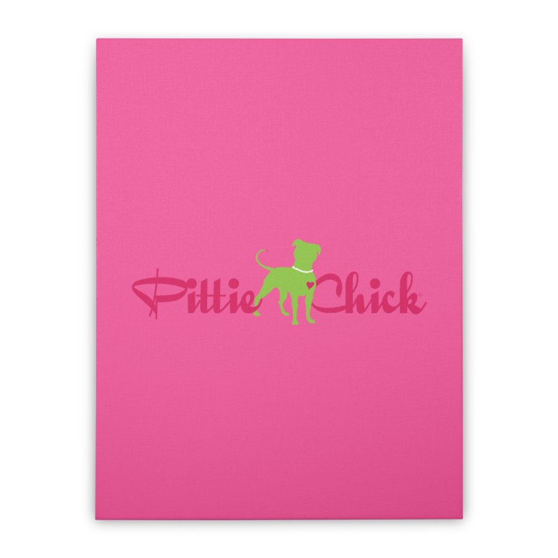 Pittie Chick - Pit in Pearls Home Stretched Canvas by Pittie Chicks