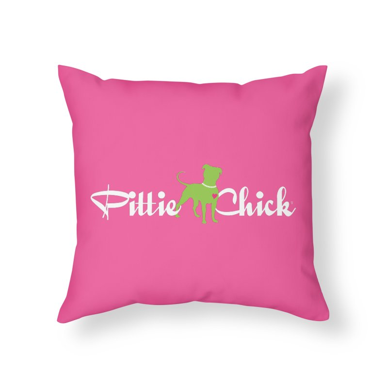 Pittie Chick - Pit in Pearls Home Throw Pillow by Pittie Chicks