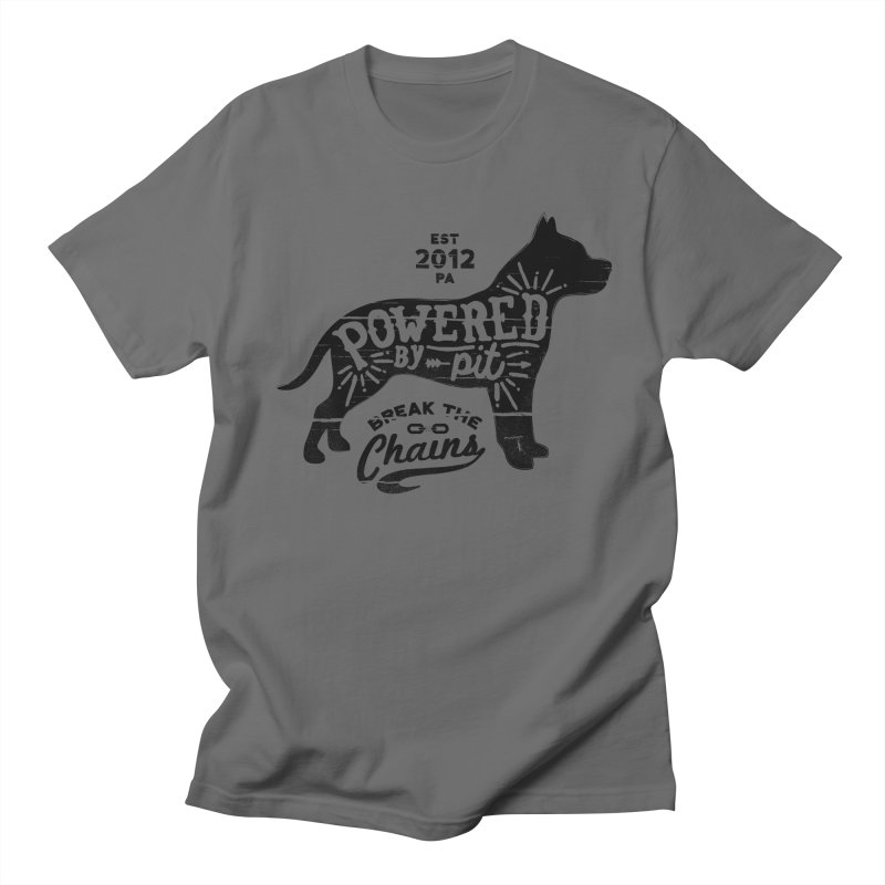 Powered By Pit Grit Men's Regular T-Shirt by Pittie Chicks
