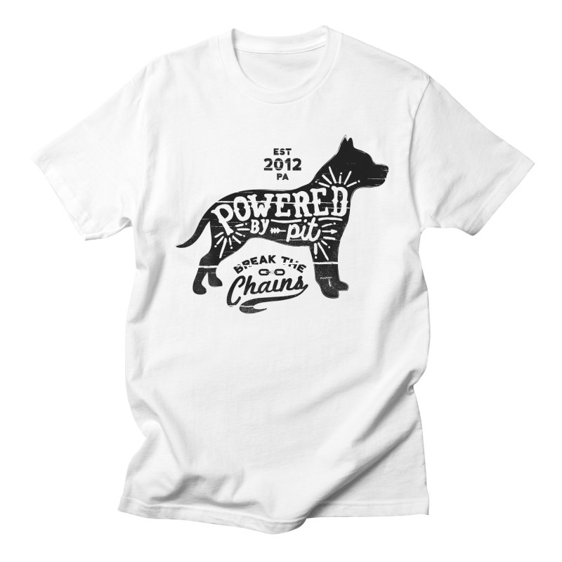 Powered By Pit Grit Women's Regular Unisex T-Shirt by Pittie Chicks