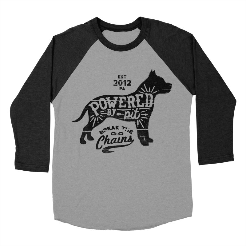 Powered By Pit Grit Men's Baseball Triblend T-Shirt by Pittie Chicks