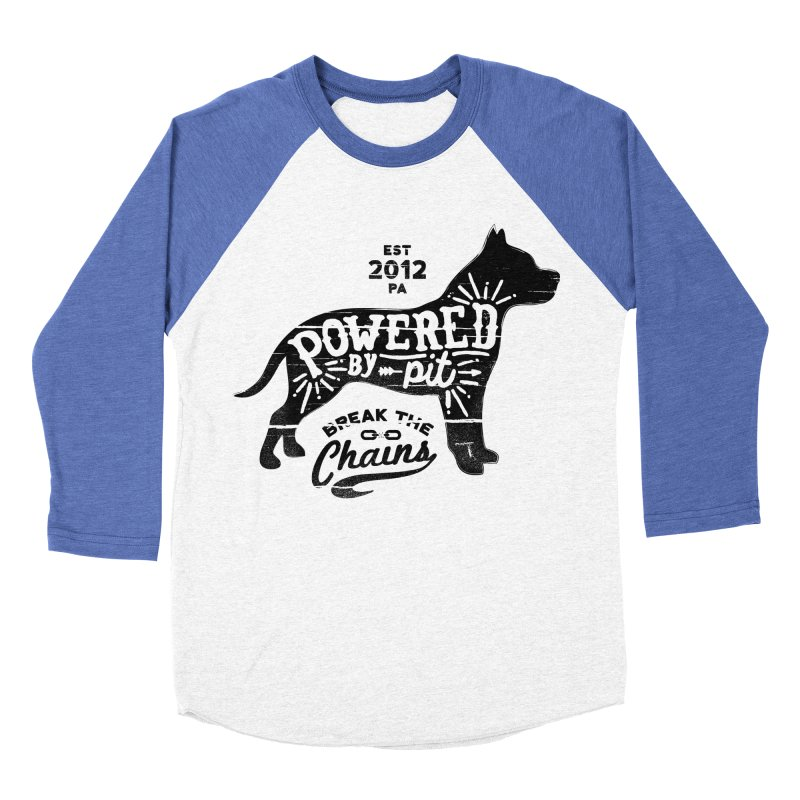 Powered By Pit Grit Men's Baseball Triblend Longsleeve T-Shirt by Pittie Chicks