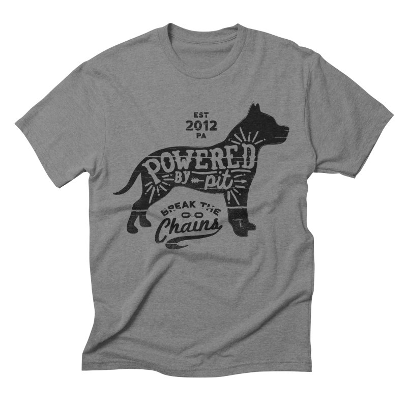 Powered By Pit Grit in Men's Triblend T-shirt Grey Triblend by Pittie Chicks