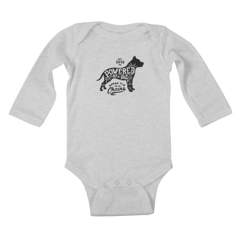Powered By Pit Grit Kids Baby Longsleeve Bodysuit by Pittie Chicks
