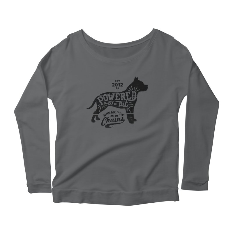 Powered By Pit Grit Women's Scoop Neck Longsleeve T-Shirt by Pittie Chicks