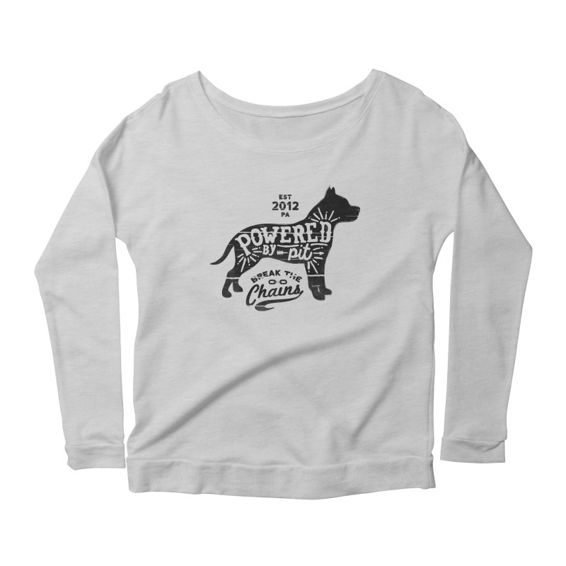 Powered By Pit Grit Women's Longsleeve Scoopneck  by Pittie Chicks