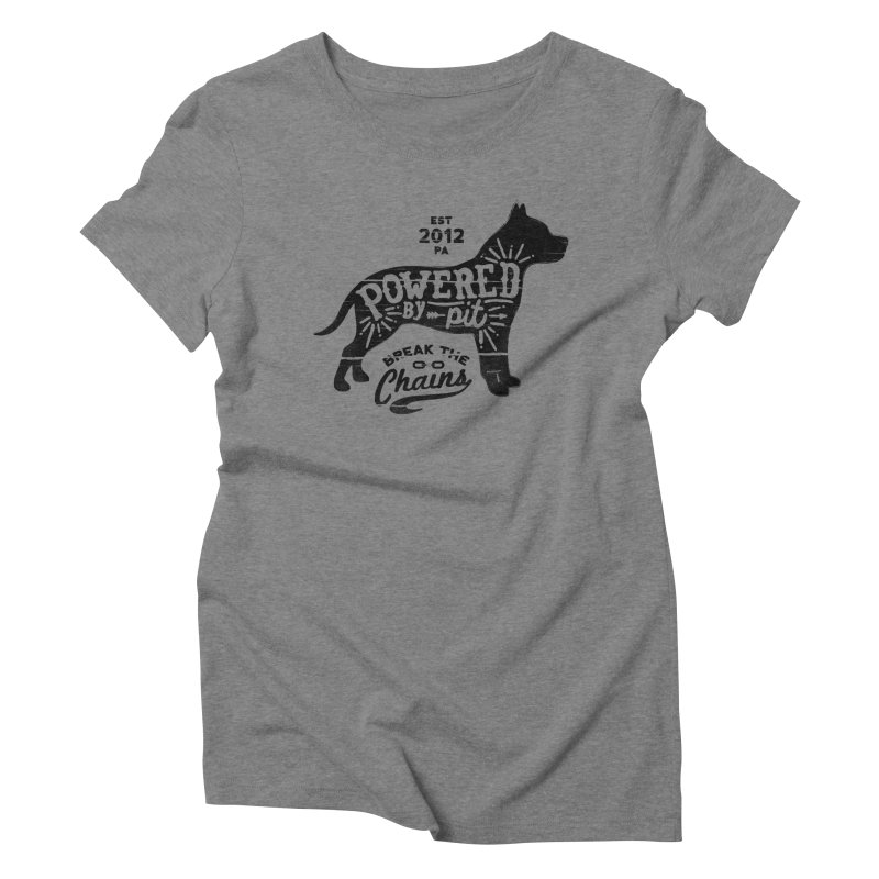 Powered By Pit Grit Women's Triblend T-shirt by Pittie Chicks
