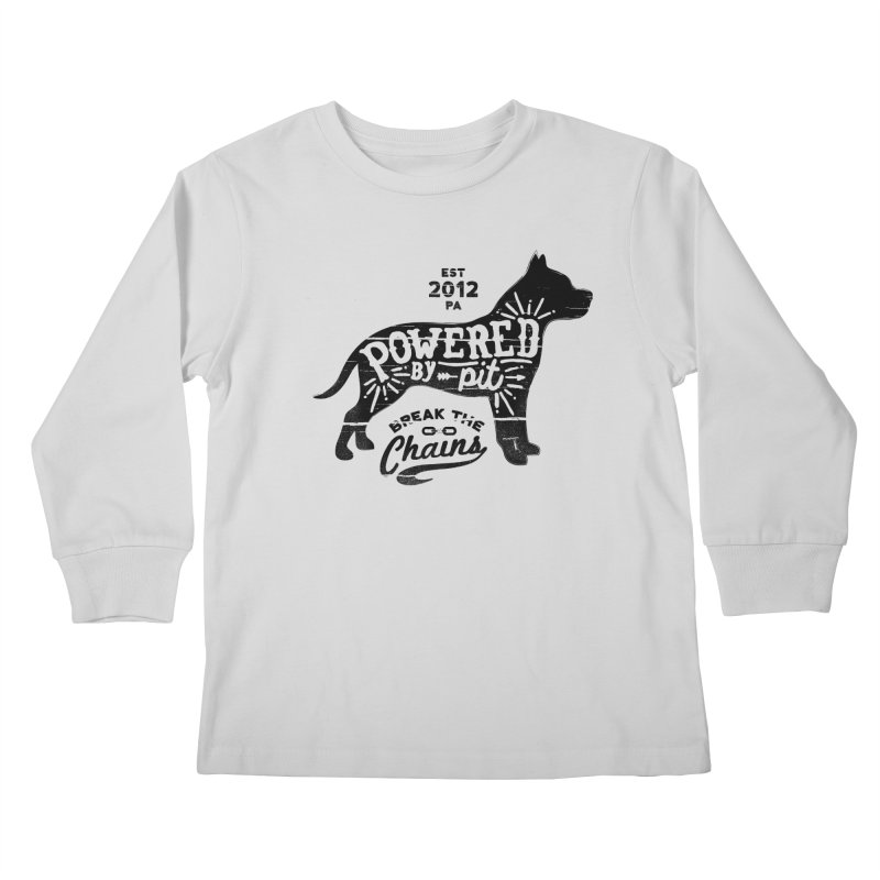 Powered By Pit Grit Kids Longsleeve T-Shirt by Pittie Chicks