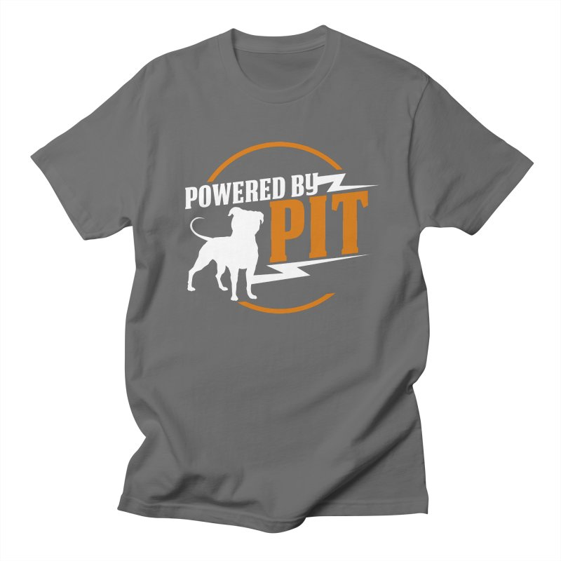 Powered by Pit Bolt Men's Regular T-Shirt by Pittie Chicks