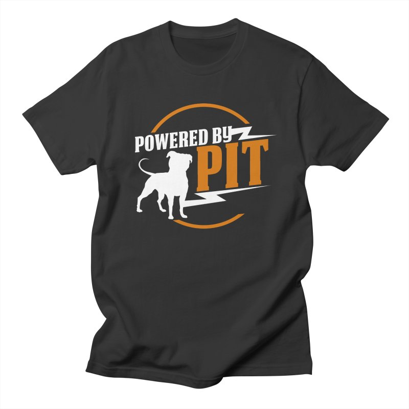 Powered by Pit Bolt Men's T-shirt by Pittie Chicks