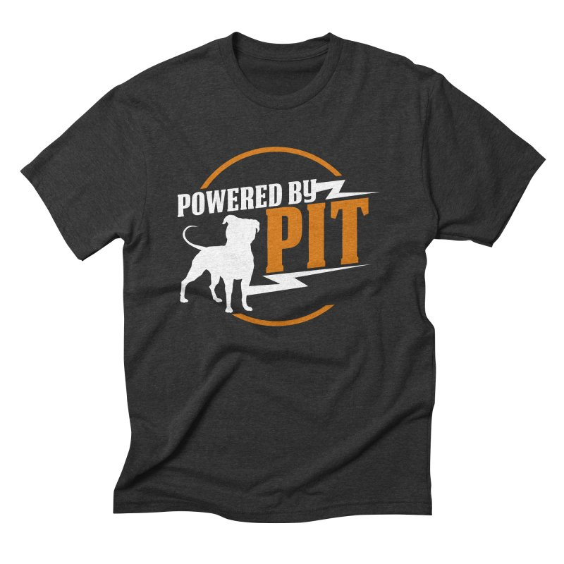 Powered by Pit Bolt Men's Triblend T-Shirt by Pittie Chicks