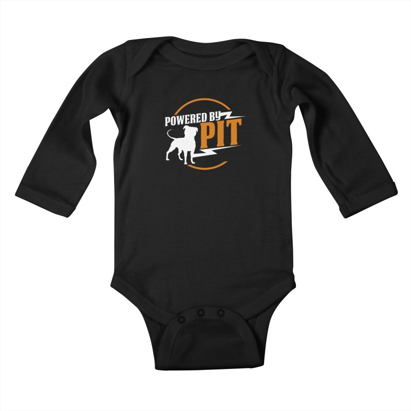 Powered by Pit Bolt Kids Baby Longsleeve Bodysuit by Pittie Chicks