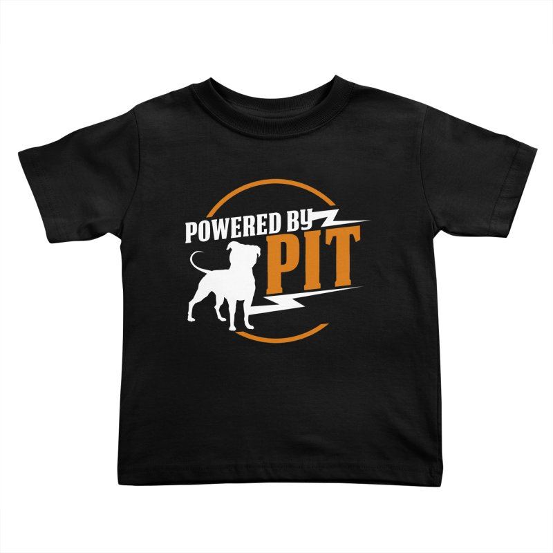 Powered by Pit Bolt Kids Toddler T-Shirt by Pittie Chicks