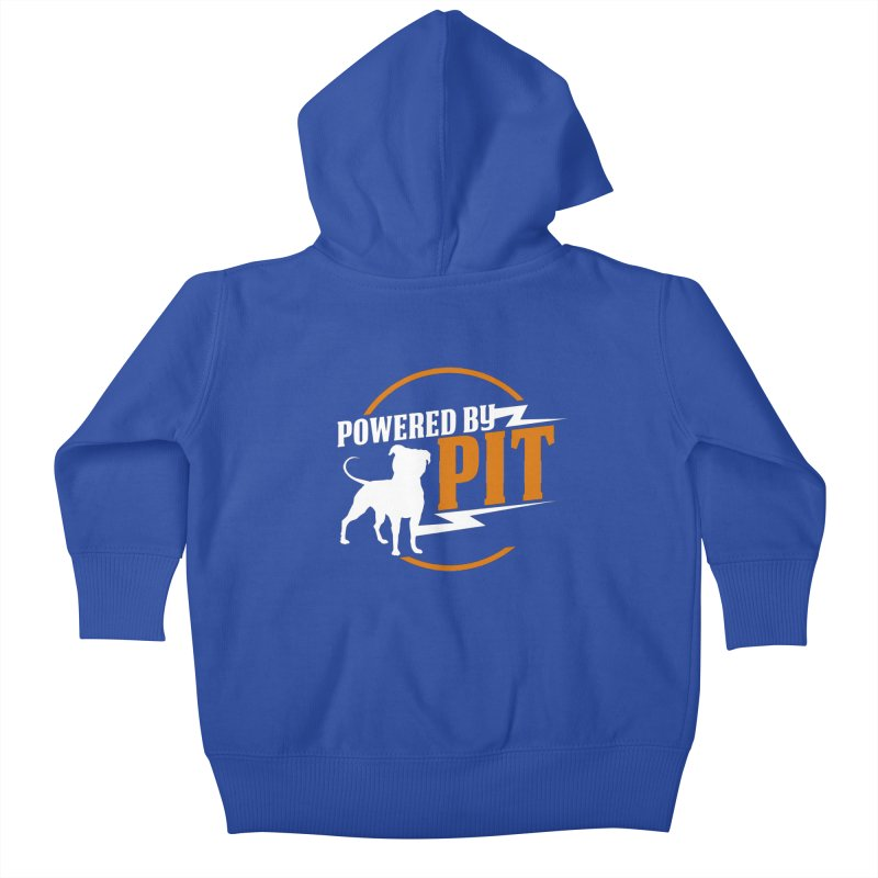 Powered by Pit Bolt Kids Baby Zip-Up Hoody by Pittie Chicks